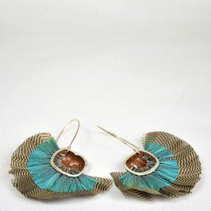Boucles d'oreilles Noisettes et plumes